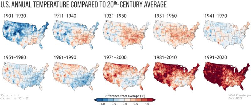 NOAA -Maps U.S. Temperature Normals 1901-2020
