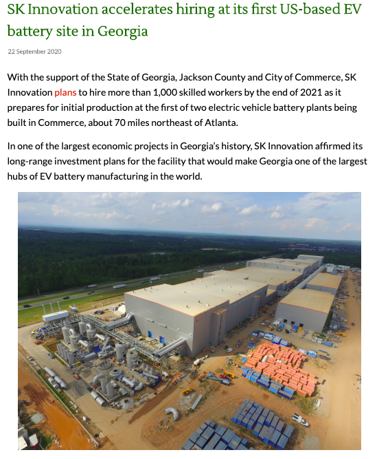 SK Innovation electric vehicle battery plant Georgia